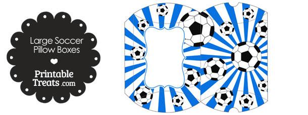 Blue Sunburst Soccer Party Large Pillow Boxes