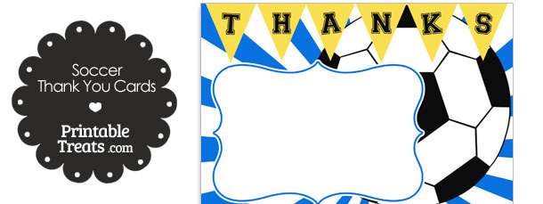 Blue Sunburst Soccer Thank You Cards