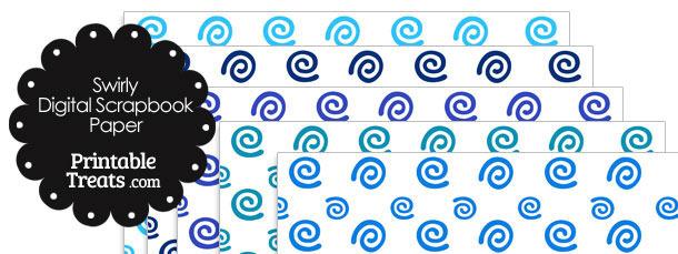 Blue Swirls Digital Scrapbook Paper