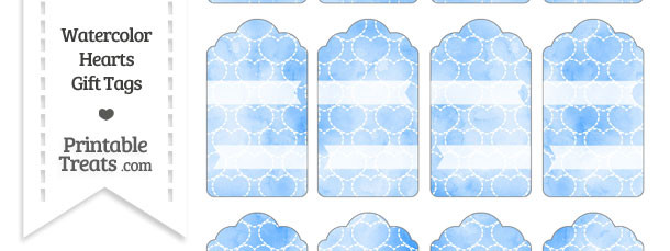 Blue Watercolor Hearts Gift Tags