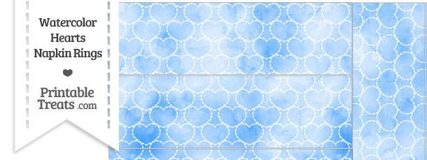 Blue Watercolor Hearts Napkin Rings