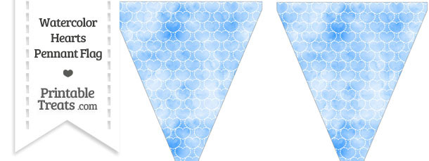 Blue Watercolor Hearts Pennant Banner Flag