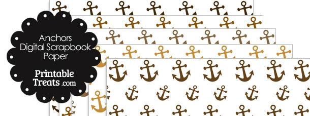 Brown Anchor Digital Scrapbook Paper
