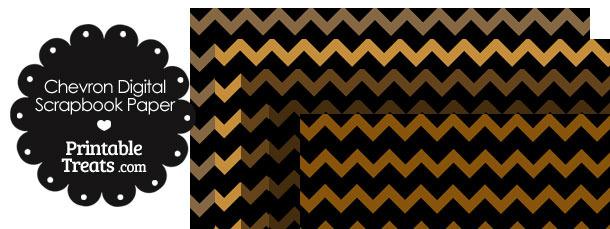 Brown and Black Chevron Digital Scrapbook Paper