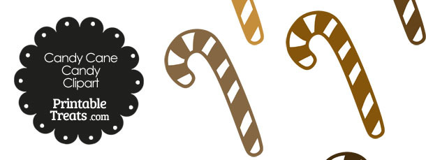 Brown and White Candy Cane Clipart