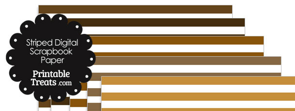 Brown and White Striped Digital Scrapbook Paper