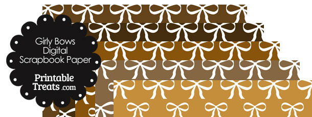 Brown Background Girly Bow Digital Scrapbook Paper