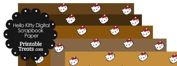 Brown Background Hello Kitty Digital Scrapbook Paper