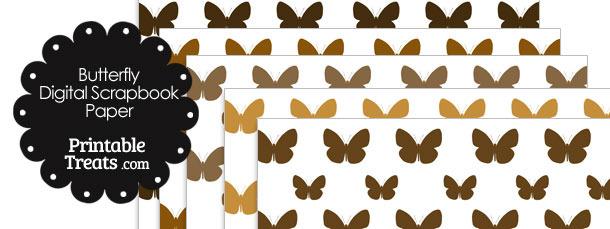 Brown Butterfly Digital Scrapbook Paper