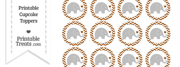 Brown Chevron Baby Elephant Cupcake Toppers