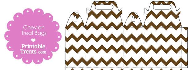 Brown Chevron Treat Bags to Print