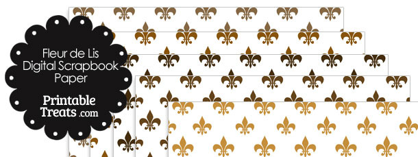 Brown Fleur de Lis Digital Scrapbook Paper