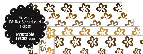 Brown Flower Digital Scrapbook Paper