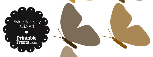 Brown Flying Butterfly Clipart