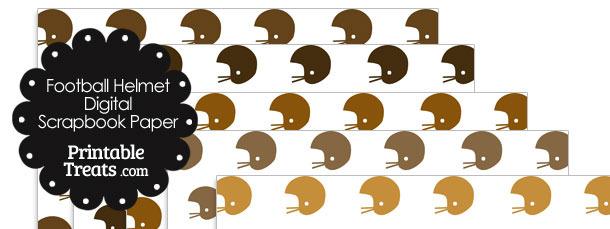 Brown Football Helmet Digital Scrapbook Paper