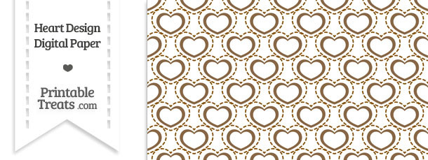 Brown Heart Design Digital Scrapbook Paper