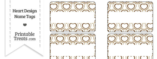 Brown Heart Design Name Tags