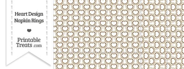 Brown Heart Design Napkin Rings