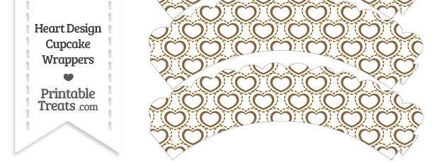 Brown Heart Design Scalloped Cupcake Wrappers