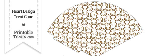 Brown Heart Design Treat Cone
