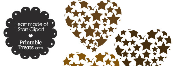 Brown Heart Made of Stars Clipart