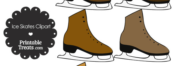 Brown Ice Skates Clipart