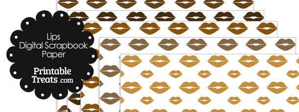 Brown Lips Digital Scrapbook Paper