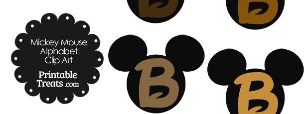 Brown Mickey Mouse Head Letter B Clipart