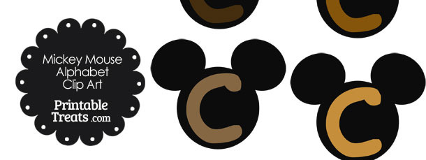 Brown Mickey Mouse Head Letter C Clipart