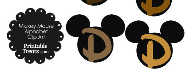 Brown Mickey Mouse Head Letter D Clipart
