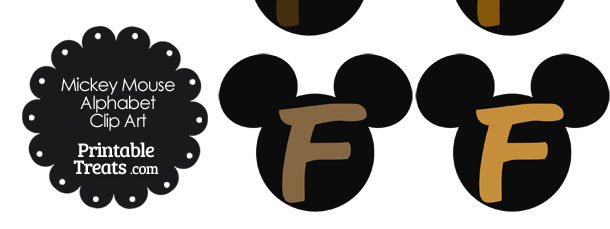 Brown Mickey Mouse Head Letter F Clipart