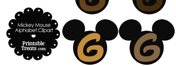 Brown Mickey Mouse Head Letter G Clipart