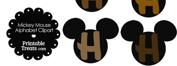 Brown Mickey Mouse Head Letter H Clipart