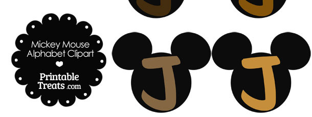 Brown Mickey Mouse Head Letter J Clipart