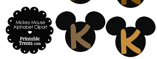 Brown Mickey Mouse Head Letter K Clipart