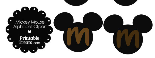 Brown Mickey Mouse Head Letter M Clipart