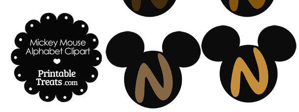 Brown Mickey Mouse Head Letter N Clipart