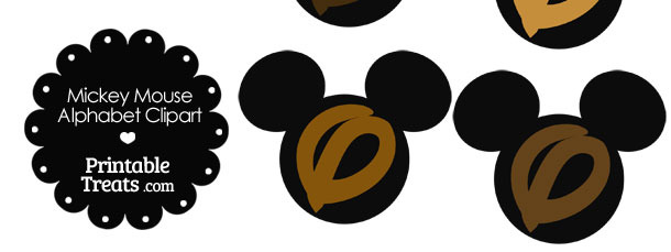 Brown Mickey Mouse Head Letter O Clipart