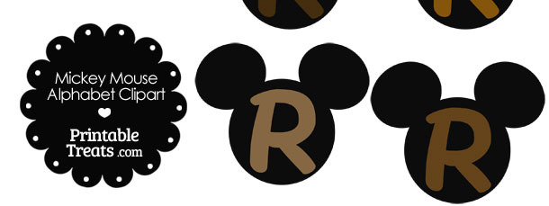 Brown Mickey Mouse Head Letter R Clipart