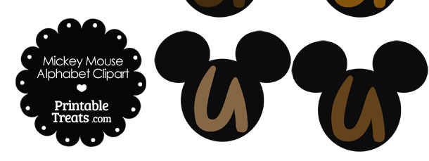 Brown Mickey Mouse Head Letter U Clipart