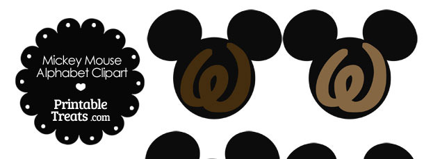 Brown Mickey Mouse Head Letter W Clipart