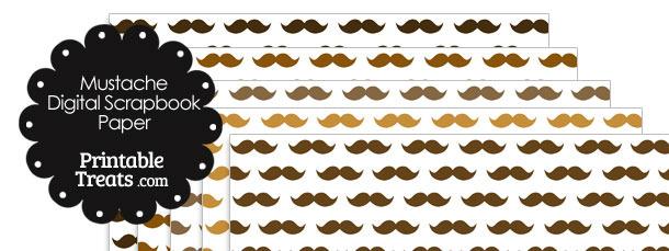Brown Mustache Digital Scrapbook Paper