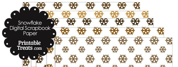 Brown Snowflake Digital Scrapbook Paper
