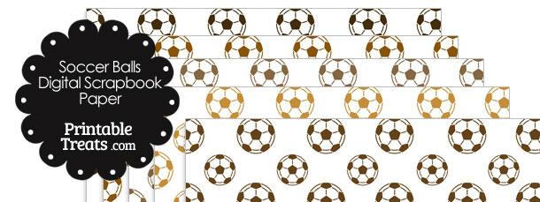 Brown Soccer Digital Scrapbook Paper