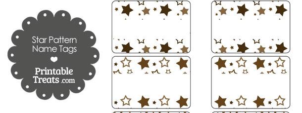 Brown Star Pattern Name Tags