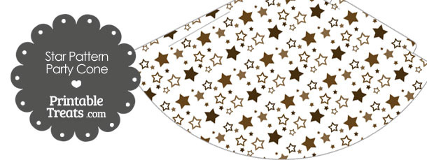 Brown Star Pattern Party Cone