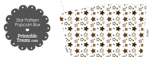 Brown Star Pattern Popcorn Box