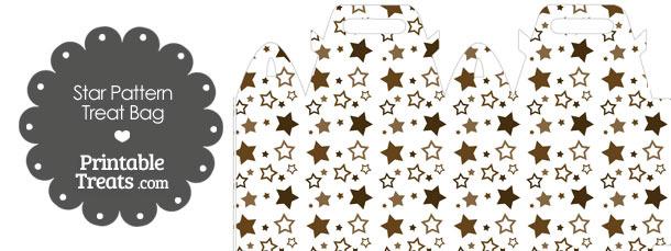 Brown Star Pattern Treat Bag