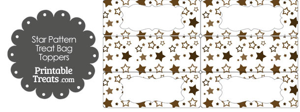 Brown Star Pattern Treat Bag Toppers