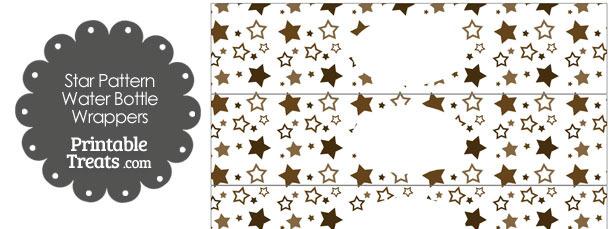 Brown Star Pattern Water Bottle Wrappers